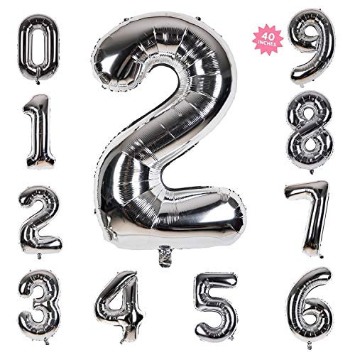 40 Inch Giant Helium Foil Number 0-9 Silver Balloon Birthday Wedding Party Decorations (Silver Number Balloon 2)