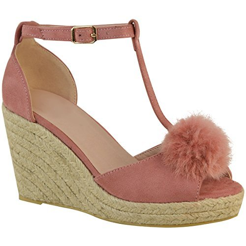 Fashion Thirsty Womens Ladies Mid High Heel Wedge Peeptoe Pom Pom T-Bar Espadrilles Sandals Size Pastel Pink Faux Suede gYjKEkeDa