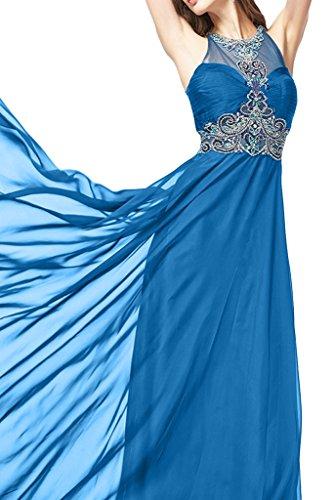 sunvary Noble Cabestro gasa de largo fiesta vestidos novia Azul
