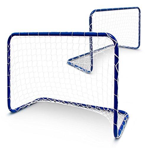 Relaxdays Fußballtor Inklusive Netz und Heringen 2-er Set, Blau, 78.0 x 46.0 x 57.0 cm, 10010064