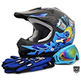 HHH DOT Youth & Kids Helmet for Dirtbike ATV Motocross MX Offroad Motorcyle Street bike Black/Blue, Blue Flame + WITH FREE GLOVES AND GOOGLES (Small, Black/Blue)