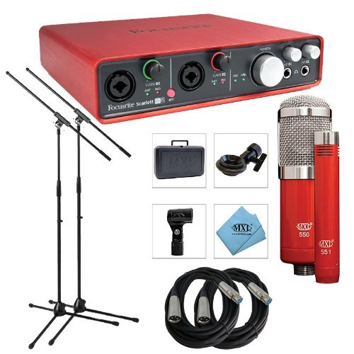 Focusrite Scarlett 6i6 USB Audio Interface, 2nd Gen - Bundle With MXL 550/551R Condenser Ensemble Microphone Kit, 2x Pig Hog 20' 8mm XLR Microphone Cable, 2x Samson MK10 Lightweight Boom Mic Stand by Focusrite