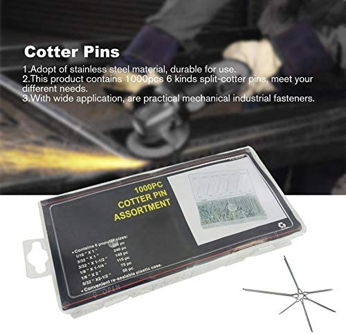1000Pcs Stainless Steel Split Cotter Pins Set Cotter Pin Assortment Kit (Silver