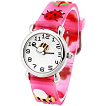 Kid Waterproof 3D Ladybug Cute Cartoon Silicone Quartz Watch for Little Girl Boy Child Gift Pink