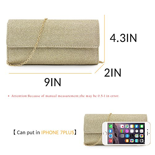 Evening Clutch Elegant Shoulder Clutch Chain Purse Bag Bags Sequins Women Or Milisente qZwzCnYtXt