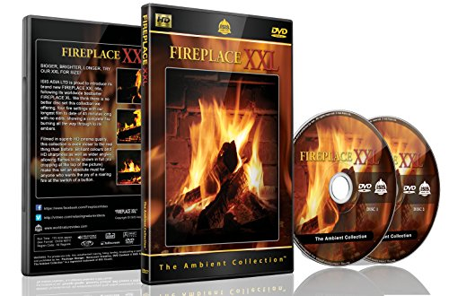Fireplace Dvd - Fireplace XXL - 2 Dvds Set with Double Extra Long Fires with Burning Wood Sounds (Grate Stove)