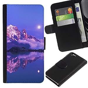Planetar® Modelo colorido cuero carpeta tirón caso cubierta piel Holster Funda protección Para Apple (4.7 inches!!!) iPhone 6 ( Nature Pink Sunset Mountain )