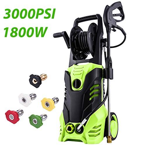 Rendio 3000 PSI Electric Pressure Washer, Pressure Washer, Professional Power Washer 5 Nozzles, 1800W Rolling Wheels, Hose Reel, 1.80 GPM (Hose Reel Wheel 2)