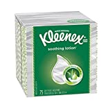 Kleenex Lotion Facial Tissues with Aloe & Vitamin E, Cube Box, 75 Tissues per Cube Box, 1 Pack