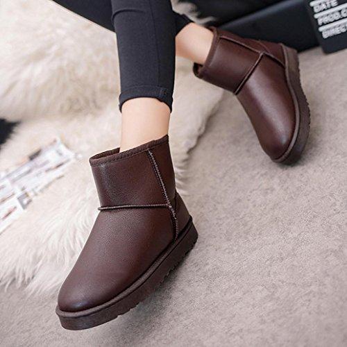 Botas Mujer,Ouneed ®Mujeres de alta calidad de nieve Boots de piel forrada invierno calientes zapatos de algodón marrón