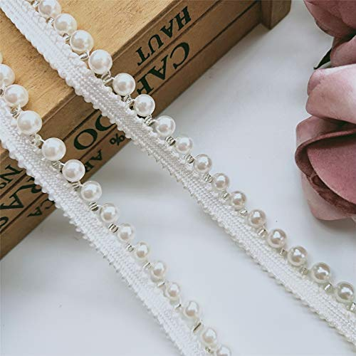 2 Meters Pearl Beaded Lace Trim Ribbon Edge Grosgrain Tape 1/2 inch Width Vintage Style White Edging Trimming Fabric Embroidered Applique Sewing Craft Wedding Bridal Dress Sash Belt DIY Gift(Style ()