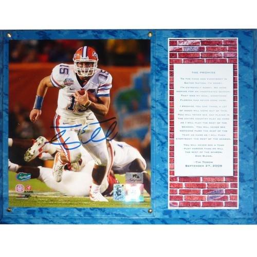 (Tim Tebow Autographed Florida Gators (08 BCS Run) Promise Speech 8x10 Photo Plaque)