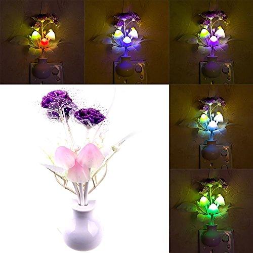 Sanyi Novelty Light Sensor Lilac Flower Night Light Plug-in Light Control Indoors Lamp for Bedroom Hallway Kitchen Nursery