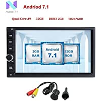 Android 7.1 Car Stereo 32GB+ 2GB Double Din Radio with Bluetooth GPS Navigation Support Fastboot Wifi MirrorLink AUX USB SD Backup Camera 7 inch Touch Screen