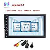 Android 7.1 universal Car Stereo 32GB+ 2GB Double Din Radio with Bluetooth GPS Navigation Support Fastboot Wifi MirrorLink AUX USB SD Backup Camera 7 inch Touch Screen