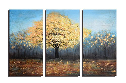 ARTLAND Hand Painted Canvas Wall Art 'Life For Rent' 3-piece Gallery-wrapped Gold Landscape Tree Oil Painting for Living Room 24x36-inch