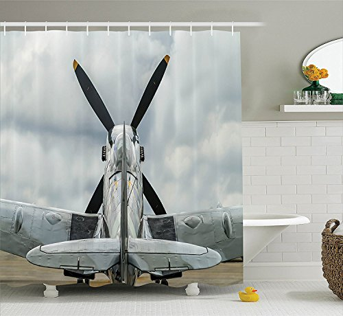 [Airplane Decor Collection Supermarine Spitfire Mk. XVI Battle Birds British Exhibition Museum Guns Weapon Picture Polyester Fabric Bathroom Shower Curtain] (Museum Of Country Life And Costume)