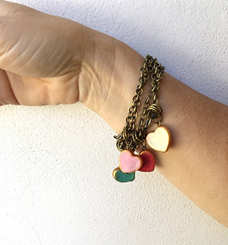 Heart Bracelet, Valentine's Gift for her , Valentine Jewelry, Heart Jewelry, Red, Pink, Aqua and Cream, Vslentine's for Mom, Stamped Heart (Vslentine)