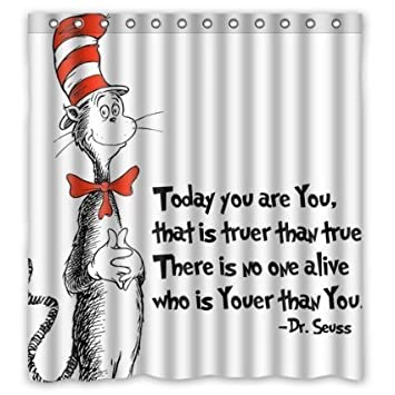 Superior Custom DR Seuss Cat In The Hat Waterproof Polyester Fabric Shower Curtain  With Latest Design Print