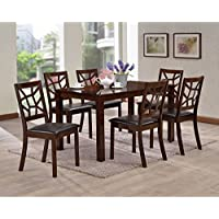 Baxton Studio 7 Piece Mozaika Wood & Leather Contemporary Dining Set