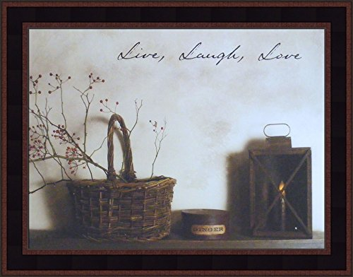 - Live Laugh Love by Billy Jacobs 15x19 Country Rustic Basket Candle Primitive Photography Folk Art Wall Décor Framed Picture