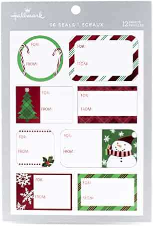 Hallmark Christmas Gift Tag Stickers (96 Labels; Santa, Trees, Blue, Glitter)
