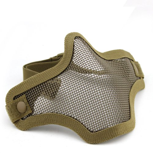 A&N Airsoft Metal Mesh Lower Half Face Skull Mask Face Protection Tan / Party Dress Up Costume Halloween