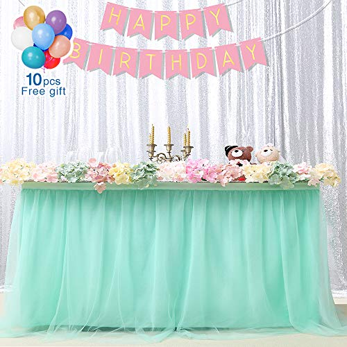 Fanqisi Skirt Table Mint Tutu Tableware Tablecloth Slumber Party Supplies Baby Shower Birthday Wedding Snowflake Wonderland Theme Decorations for Table L 9ftH 30in ()