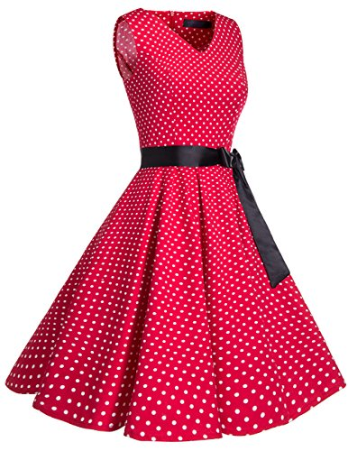 Vestido En Dot Bridesmay Sin Mangas Small Retro Mujer Red Corto Vintage Escote Pico White dw4qxCO4