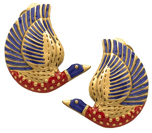 Sale - Museum Reproduction of the Egyptian Enameled Bird CLIP Earrings, From Our Museum Store by ILANET Museum Reproductions
