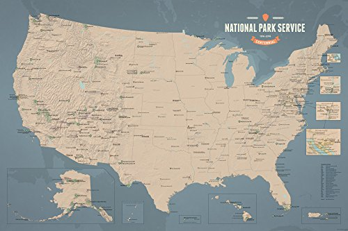 National Park Service Centennial Map 24x36 Poster (Tan & Slate - State Lake Washington Black