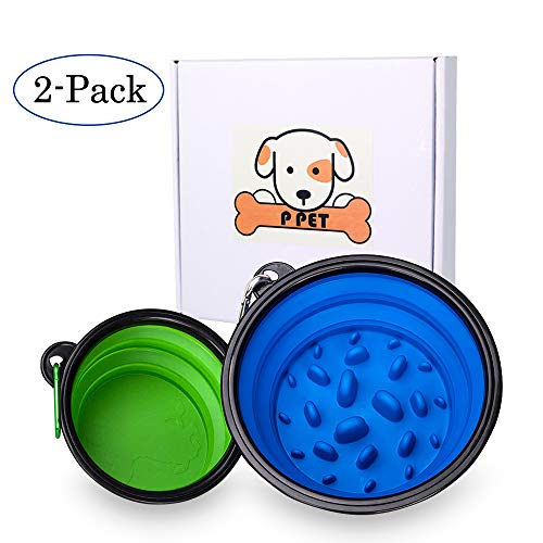 Collapsible Dog Bowl, 2 Pack Large 34oz 4 Cups Portable Dog Water Bowl Silicone Bowl Foldable Expandable Pet Food Bowl…