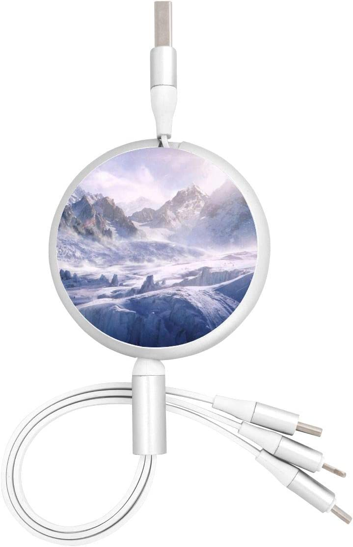 Snow Mountain Adventure USB Charging Cable 3 in 1 Retractable Fast Charger Cord Connector for All Phones with Tablets