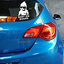 Aaron Cool Boy Baby On Board Baby Safety Sign Car Sticker (2-Pack)