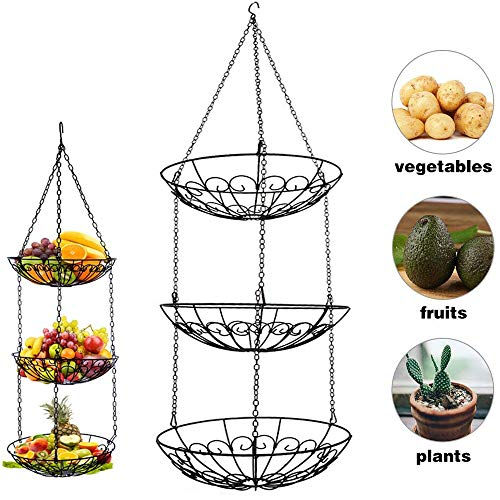 3 Tier Fruit Basket, Vegetable Kitchen Storage Basket Chain Hanging Space Saving Rustic Country Style Chicken Wire Fruits, Produce, Plants Storage Basket (3 Tier Hanging Fruit Vegetable Kitchen Storage Basket)
