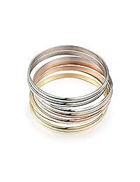 Stainless Steel Multi-strand 7pcs Tri-Color Silver/Gold/Rose Gold Bracelet Bangles for Women