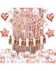 Rose Gold Birthday Party Decorations, Happy Birthday Banner, Rose Gold Confetti and White Balloons, Foil Balloon, Tassels, Foil Fringe Curtains for Girl Birthday Supplies