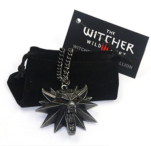 The Witcher 3 Wild Hunt Medallion Pendant Necklace the Wild Hunt 3 Figure Game Wolf Head Necklace with Bag & Card (03)