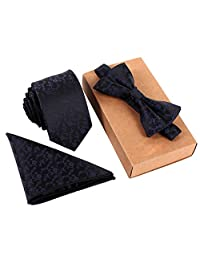 Men's Bowtie with Pocket Square Bow Tie Hanky Set Suit Wedding Necktie Black