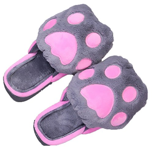 CYBLING Winter Warm Indoor Slipper Soft Cute Cartoon Plush House Shoes Anti-Slip Thick Sole Gray IA0f9zwcX