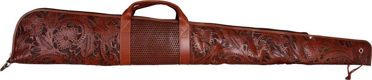 Western Tan Floral & Basketweave Hand-Tooled Leather Rifle Case