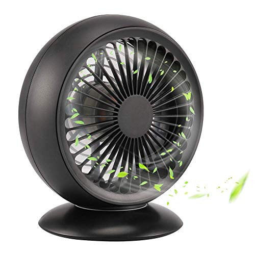 USB Desk Fan, ROTEK Portable Personal Mini Fan,Strong Wind Cooling Desktop Fans with Angle Adjustable and Low Noise Table Fan for Home, Office (Black)