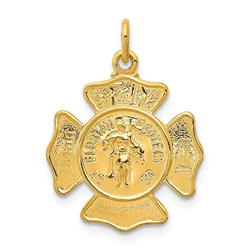 - Gold-Plated Sterling Silver Saint Florian Fireman's Badge Medal Charm