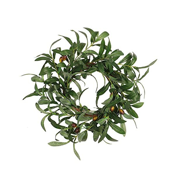 Transer- Green Olive Branch Fall Front Door Wreath, 18 Inches Decorative Leaves & Flowers, Merry Christmas Party Door Wall Garland Decoration (Green)