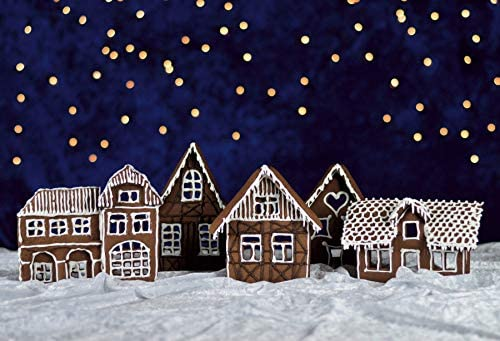 Leowefowa Childish Snowy Gingerbread Christmas Village Backdrop for Photography 10x8ft Starry Sky White Snowfield Small Houses Background Xmas Party Banner Child Baby Photo Shoot Studio Props