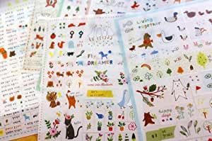 Free shipping- 6 Sheets Korea Deco Translucent Sticker Set - Sticker Paper Colorful Paper Tape-Cute animal and plant