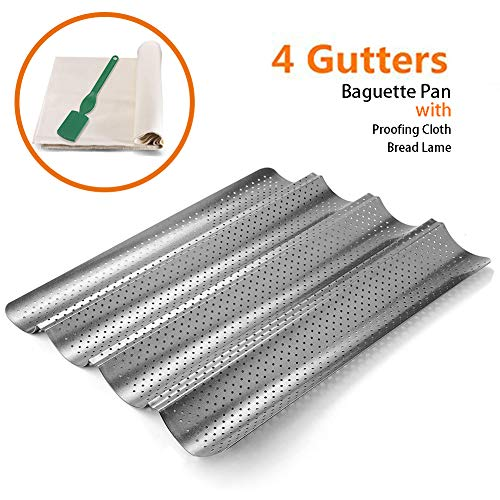 Perforated Baguette Pan, QUIENKITCH 3PCS/set Food Grade Nonstick Coating Baguette Bread Pan 4 Loaves Bake Mold for French Bread Baking, with Professional Bakers Couche Proofing Cloth and Bread ()