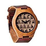 Treehut Men's Wooden Bamboo Watch with Genuine Leather Strap Quartz Analog wi.