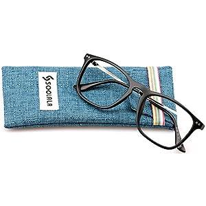 SOOLALA Designer Large Horn Rimmed Clear Lens Eyeglass Frame Reading Glasses, +2.0, Black