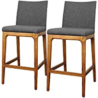 New Pacific Direct Devon Fabric Counter stool,Walnut Brown Legs,Night Shade Gray,Set of 2